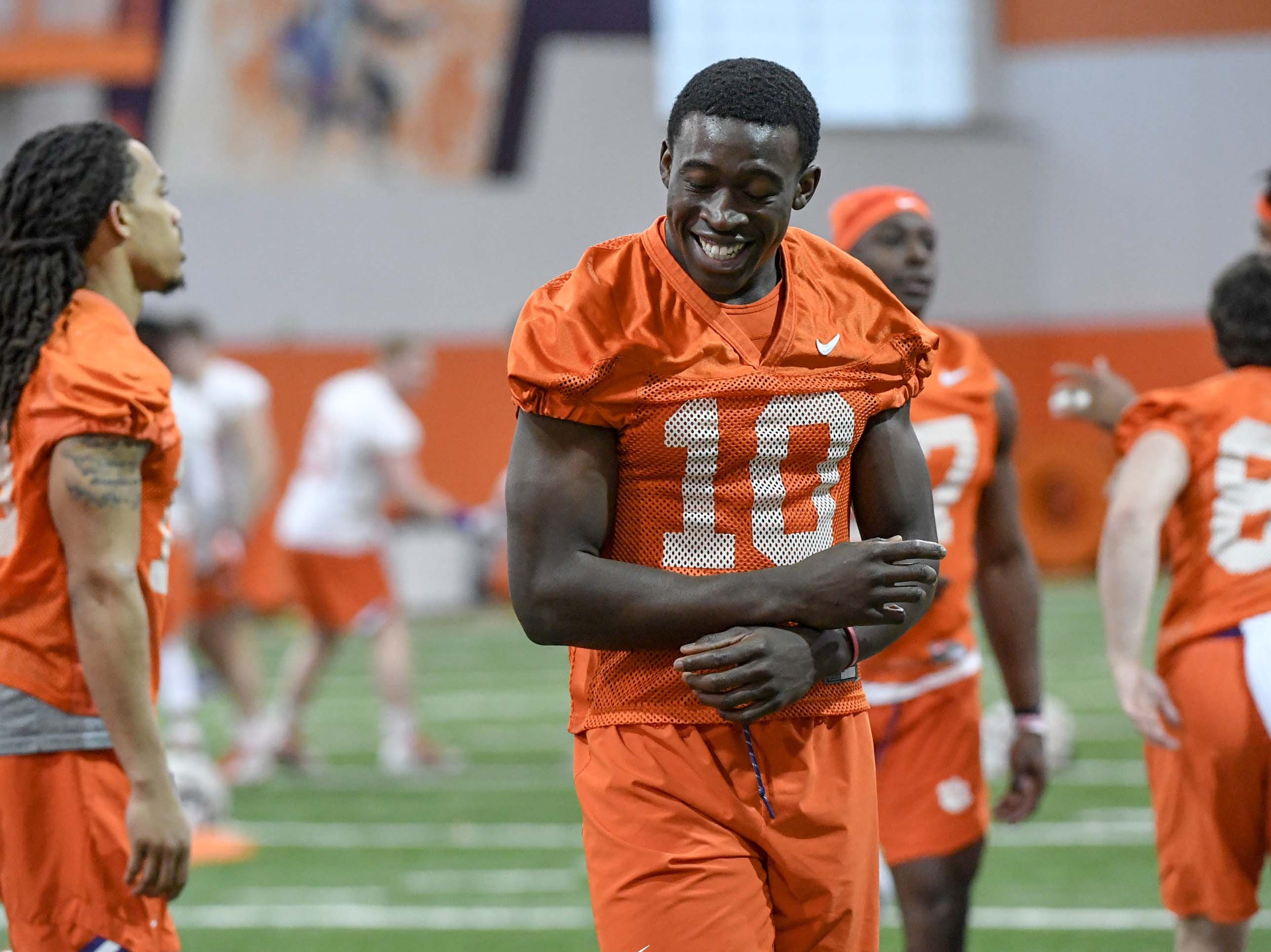 Clemson wide receiver Joseph Ngata (10) during practice at the Poe Indoor Facility in Clemson Friday.