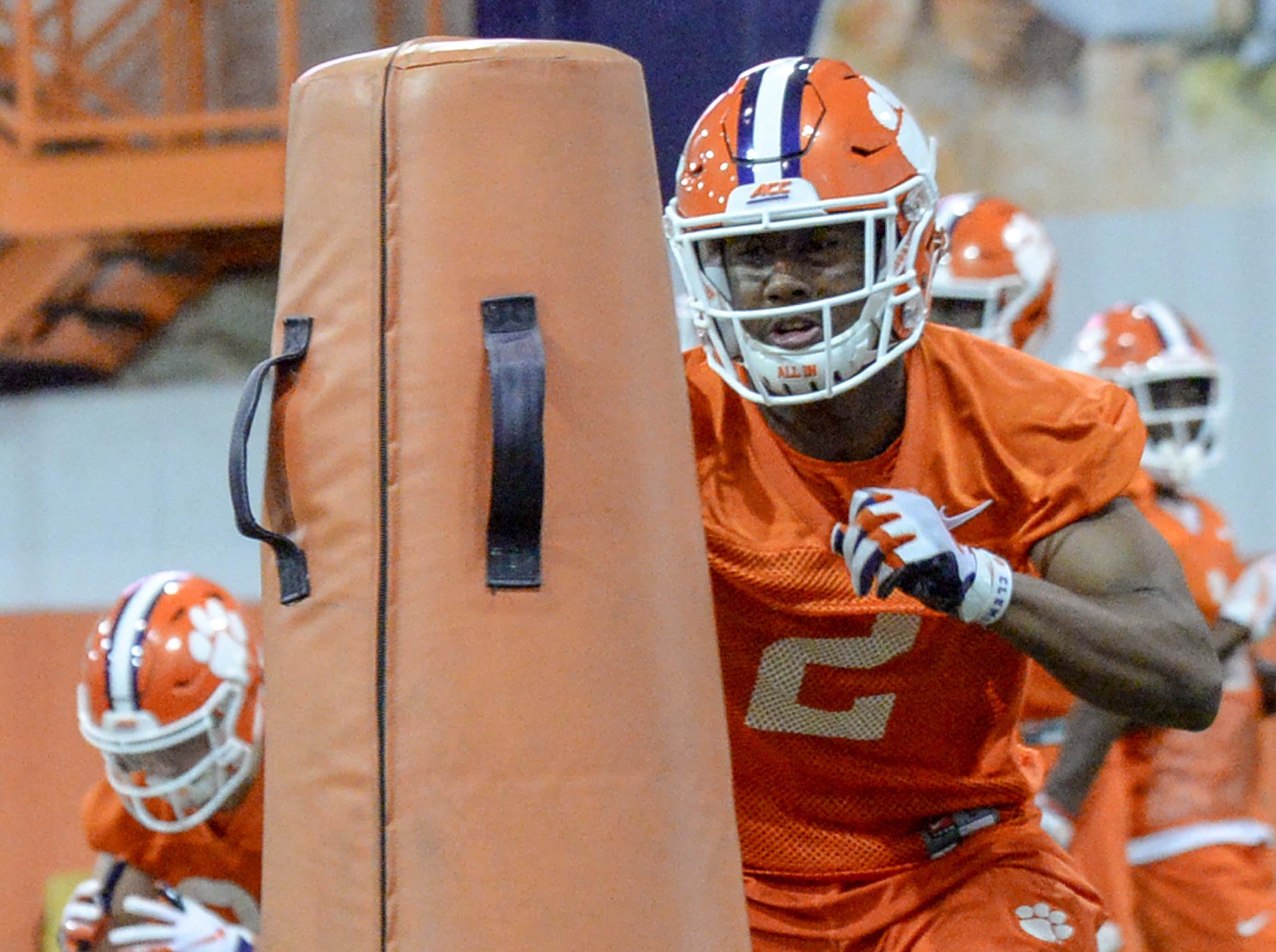 Clemson wide receiver Frank Ladson, Jr. (2) runs in a drill during practice at the Poe Indoor Facility in Clemson Friday.