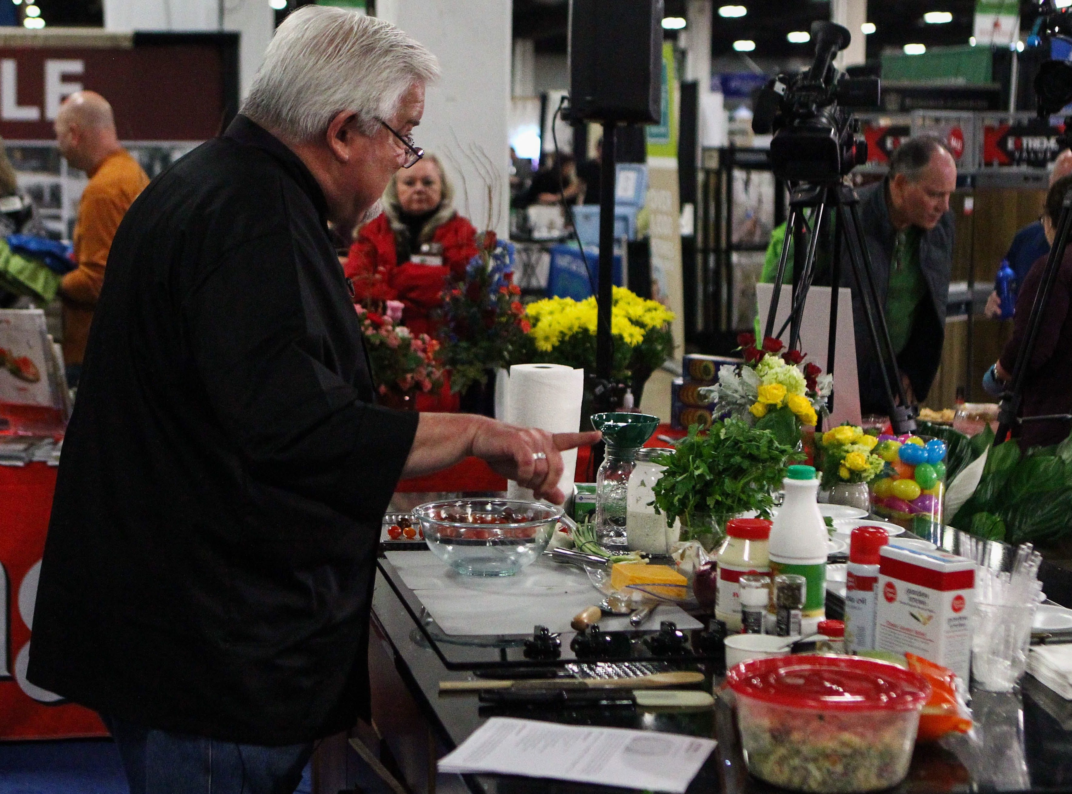 Chef Steve Woronoff talks through his dish preparation at the Southern Home and Garden Show at the Greenville Convention Center on Friday, March 1, 2019.