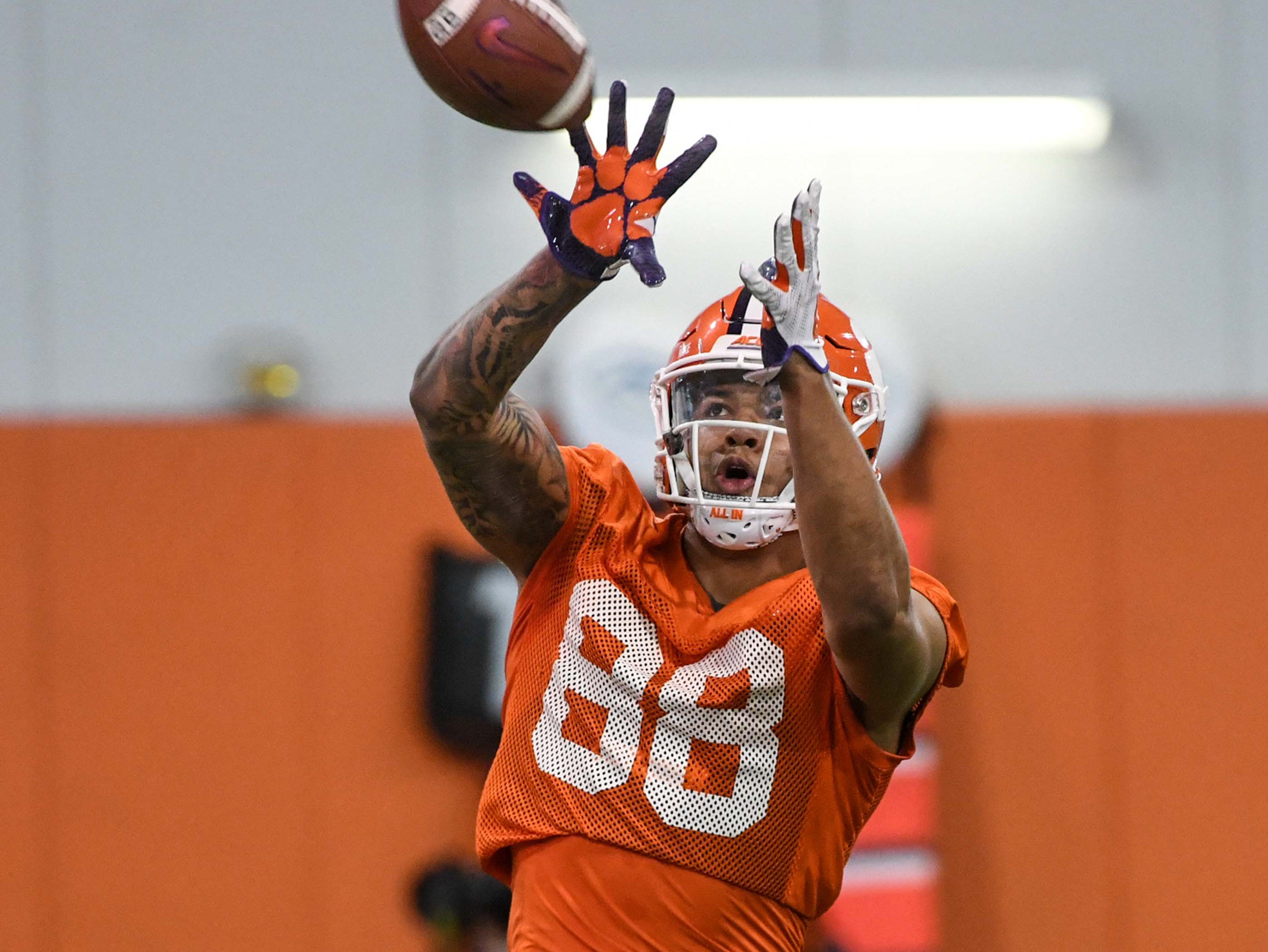 Clemson tight end Braden Galloway (88) catches a ball during practice at the Poe Indoor Facility in Clemson Friday.