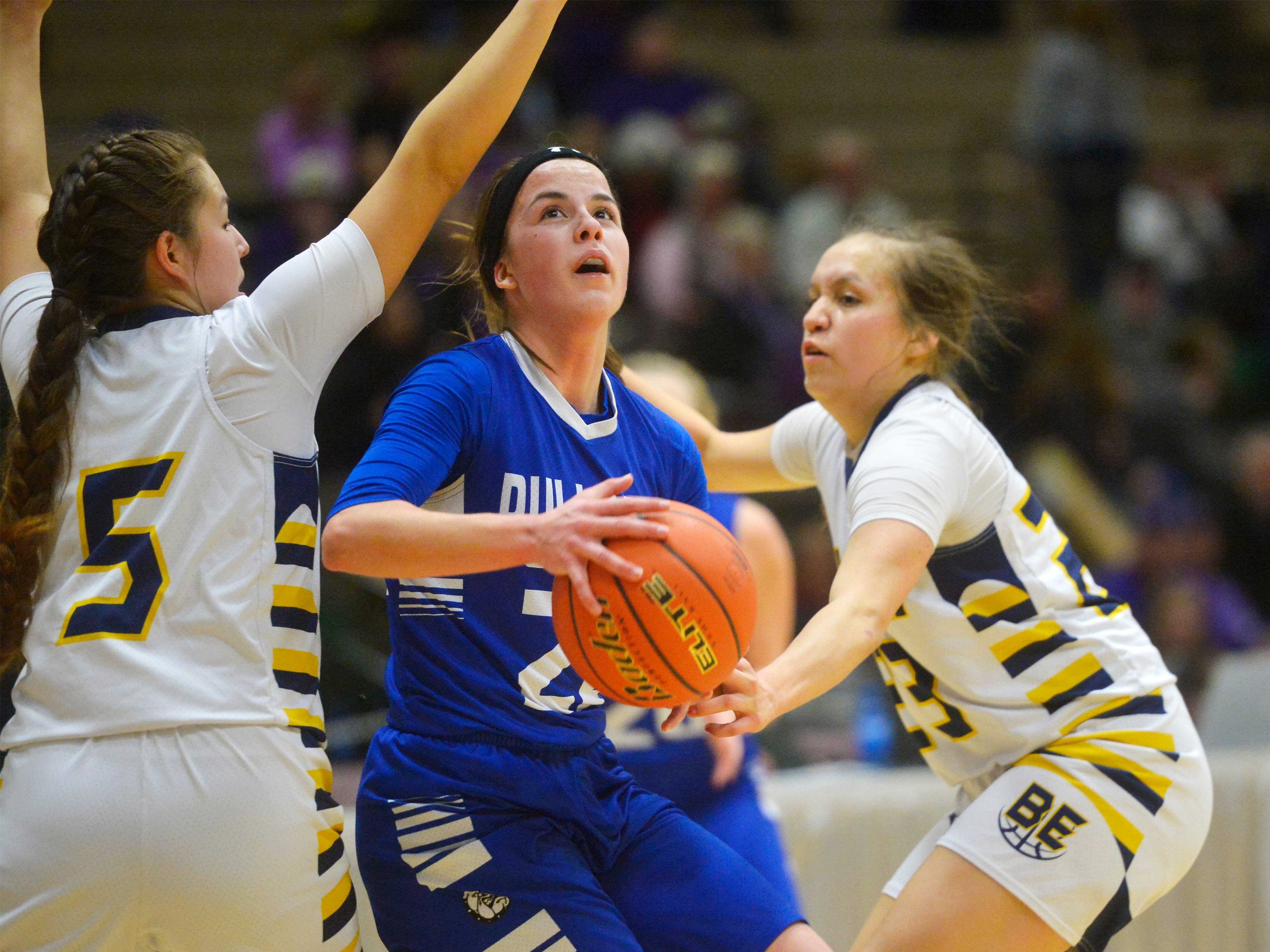 Carter County and Box Elder play in the first round of the Girls State C Basketball Tournament on Thursday in the Four Seasons Arena.