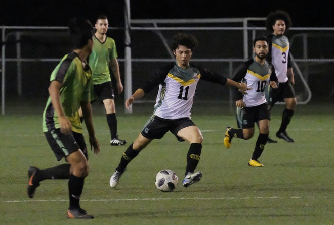 Dylan Naputi scored twice against the Omega Warriors in a 12-0 victory in the Guam Football Association Budweiser Amateur Men's League.