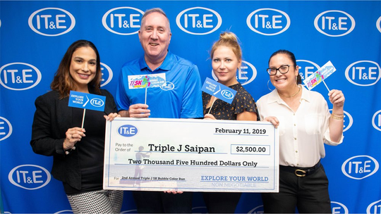 IT&E supported the following organizations in February: Triple J Saipan for the 2nd annual Triple 5K Bubble Color Run benefiting the Make-A-Wish Foundation Guam and CNMI and the Commonwealth Cancer Association.