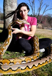 Arianna LeVine holds the head of a 100-pound python that is part of her animal adventure facility in Lamar County.