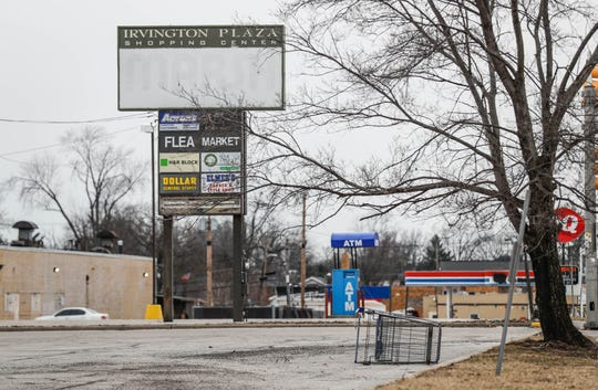 Irvington Plaza, 6243 East Washington Street, once filled with businesses is now less than half full with businesses in Indianapolis Ind. on Tuesday, Feb. 19, 2019.