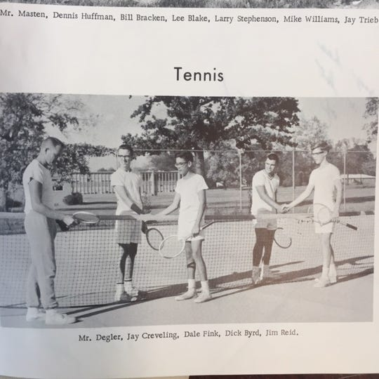 A picture of the Bur Oak tree behind the tennis courts at Eastwood Middle School, from a 1960s yearbook.