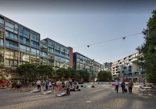 The Urban Land Institute points to this redeveloped plaza in Philadelphia as an example of what an overhaul of Irvington Plaza might resemble.