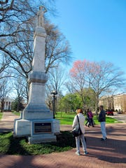 This 2017 photo shows a statue of a Confederate soldier on the campus of the University of Mississippi in Oxford, Miss.