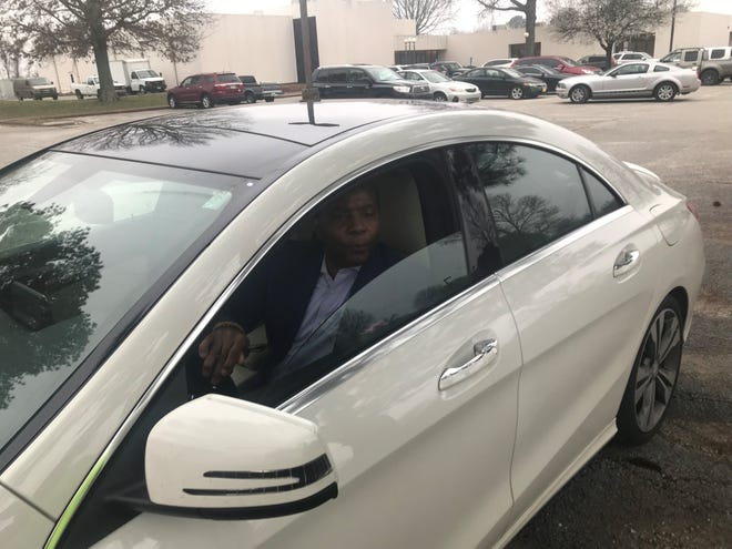 """James """"Pete"""" Johnson sits in his car as he's about to pull out and leave after refusing to answer questions after the long-range planning committee meeting on Thursday, February 28, 2019."""