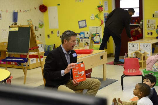 Mayoral Candidates Scott Conger, Jimmy Eldridge, Mark Johnstone and Jerry Woods were at Hands Up! Preschool to read to students in Jackson, Tenn. on Mar. 1, 2019.
