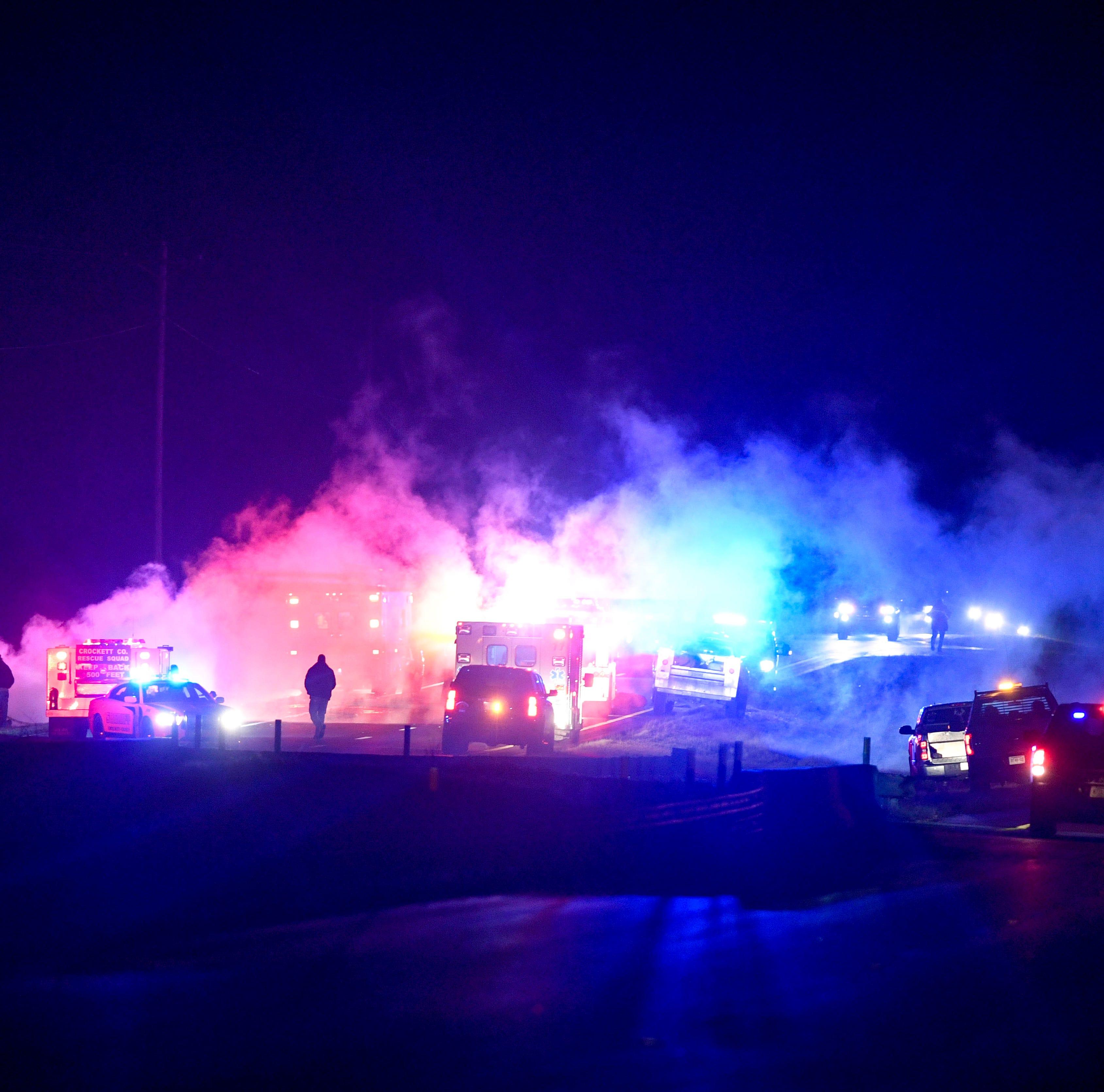 Jackson man hospitalized after fiery Crockett County crash