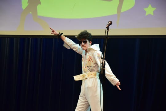 Sam Pinkston provides comic relief between acts at the Karns High School Community Talent Show on Thursday, Feb. 28, 2019.