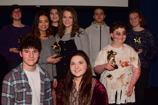 Winners of the 2019 Karns High School Community Talent Show: (front) MC Sam Pinkston, MC Sydni Stinnett; (second row) Olivia Asano, Leah McGinnis, Jennifer Moore; (back) Jessica Veach, Gabby Hammonds, Joseph Lain, C.J. Lucas. Feb. 28, 2019