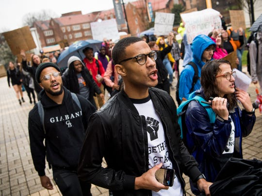 University of Tennessee students march in protest through campus and to the university's Student Union on Friday, March 1, 2019.