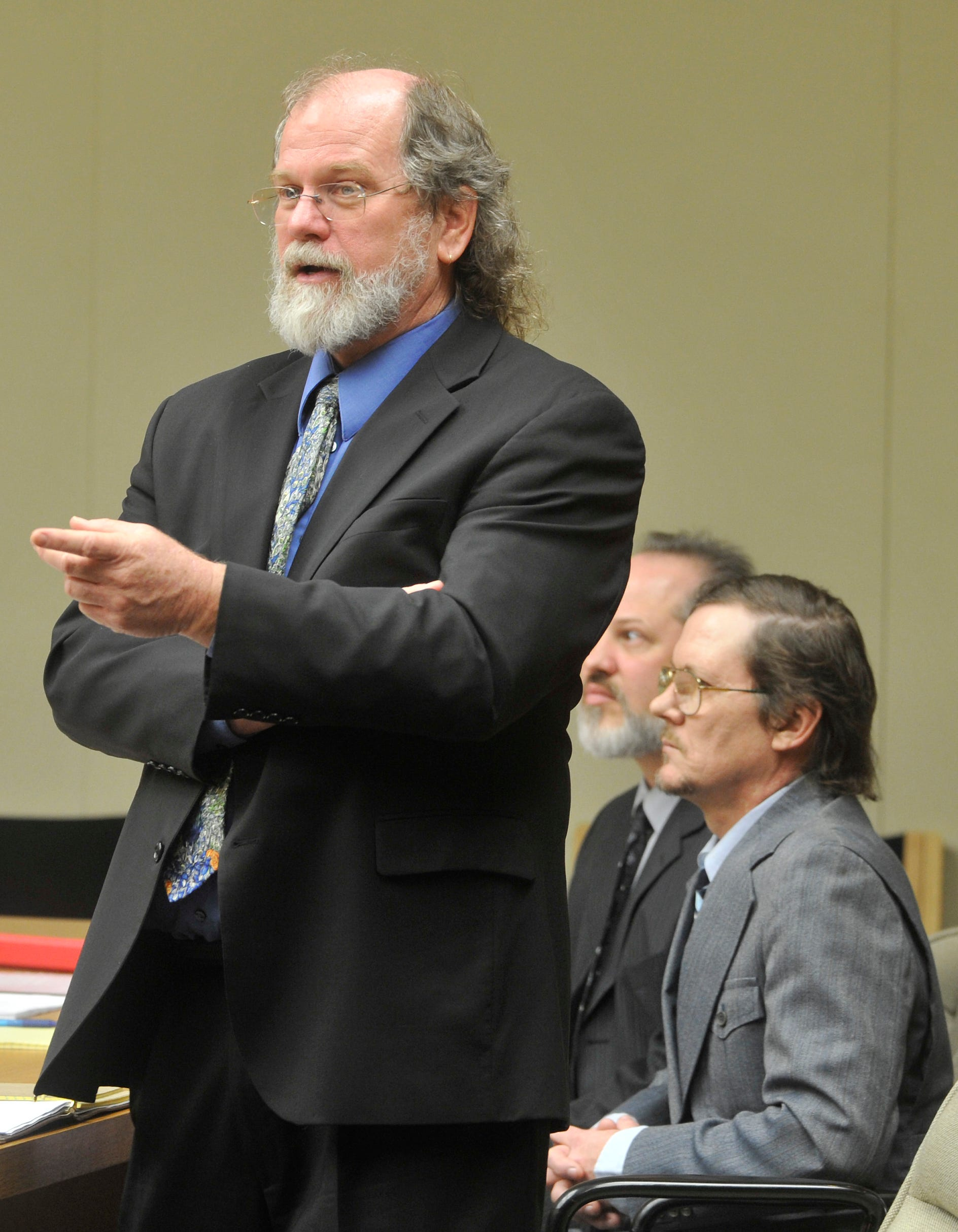 Defense attorney Mike Whalen questions a witness in February 2012.