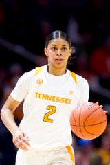 Tennessee guard Evina Westbrook (2) dribbles down the court during a game between the Tennessee Lady Vols and Vanderbilt at Thompson-Boling Arena in Knoxville, Tennessee on Thursday, February 28, 2019.