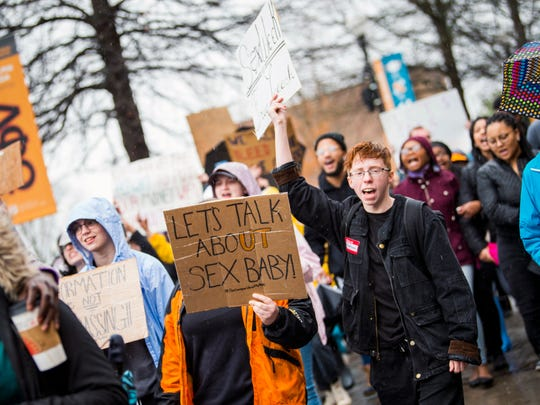 University of Tennessee students march in protest to the university's Student Union on March 1, 2019.