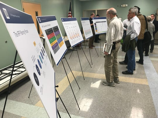 Members of the public study parts of TVA's draft Integrated Resource Plan at a Knoxville public meeting Feb. 27.
