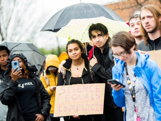 University of Tennessee students gather to protest how the University is handling Sex Week, racism and other issues on campus during an on-campus protest on Friday, March 1, 2019.