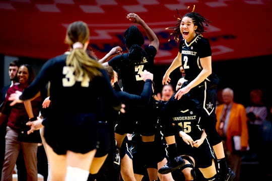 Vanderbilt guard Chelsie Hall (2) leaps in celebration after Vanderbilt defeated Tennessee for the first time at home 76-69 during a game between the Tennessee Lady Vols and Vanderbilt at Thompson-Boling Arena in Knoxville, Tennessee on Thursday, February 28, 2019.