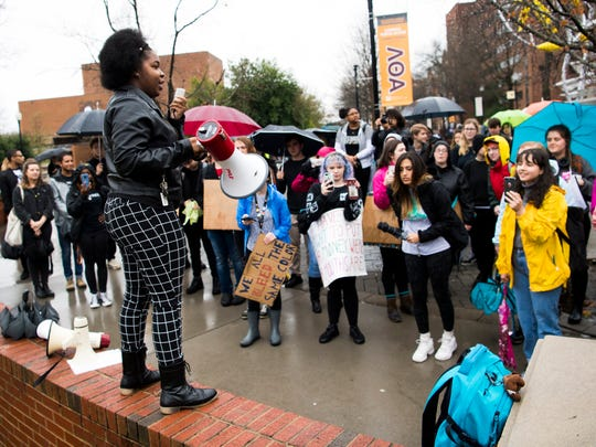 Melody Banks, University of Tennessee senior and president of UT's Black Student Union and Women of Promise, speaks during a student protest on campus on Friday, March 1, 2019.