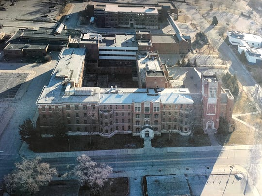 Franciscan Health Lafayette has applied to demolish three buildings on its north end campus in Lafayette, including the two wings of the former St. Elizabeth Hospital in the lower left of this photo and the former St. Elizabeth School of Nursing, at the top of the photo.