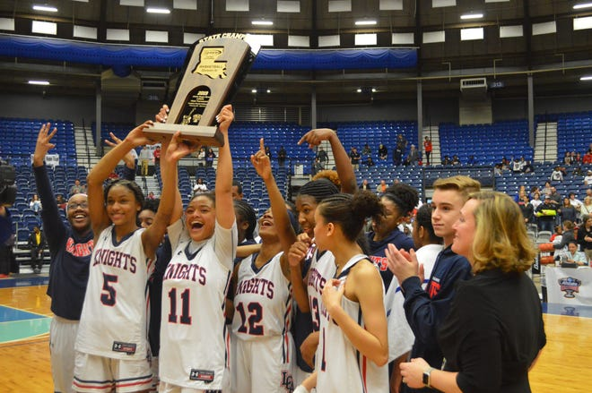The Lafayette Christian Lady Knights won their third straight Division IV title Friday. LCA defeated Vermilion Catholic, 48-33.