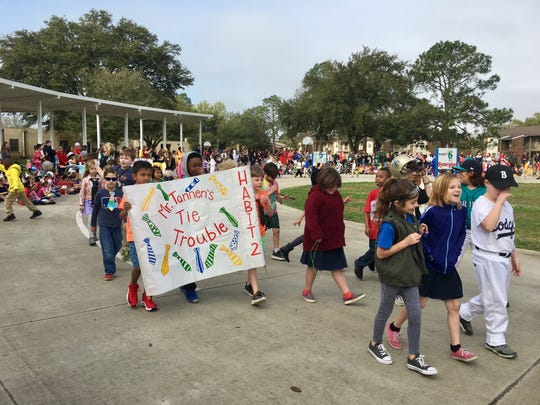 Woodvale Elementary celebrates reading with its annual book character parade Friday, March 1, 2019. Each class and grade level reads a different book and relates it to one of the seven habits of the Leader In Me program.
