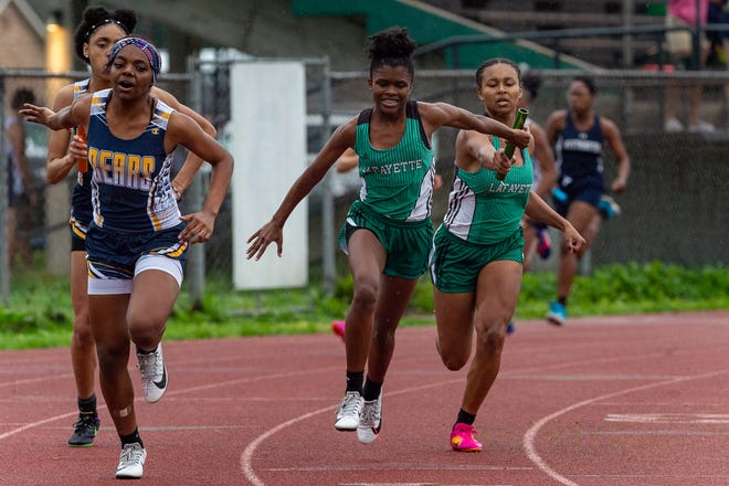 The Lafayette High girls 4x200 relay team is shown at the Lancon Invitational Track Meet on Feb. 28.