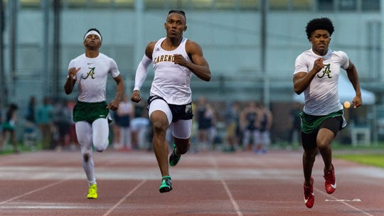 Carencro senior Trejun Jones is shown Feb. 28 at the Lancon Invitational Track Meet at Lafayette High.
