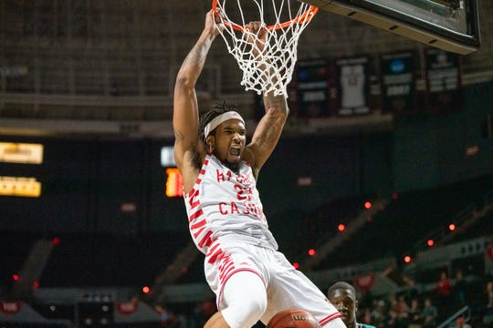 First-team All-Sun Belt pick JaKeenan Gant, show here dunking in a recent win over Coastal Carolina, leads UL into this week's SBC Tournament in New Orleans.