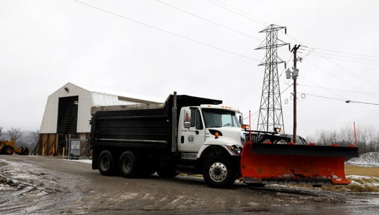 A Lancaster Department of Transportation snow plow leaves the salt facility on Lawrence Street Wednesday afternoon, Feb. 20, 2019, in Lancaster.