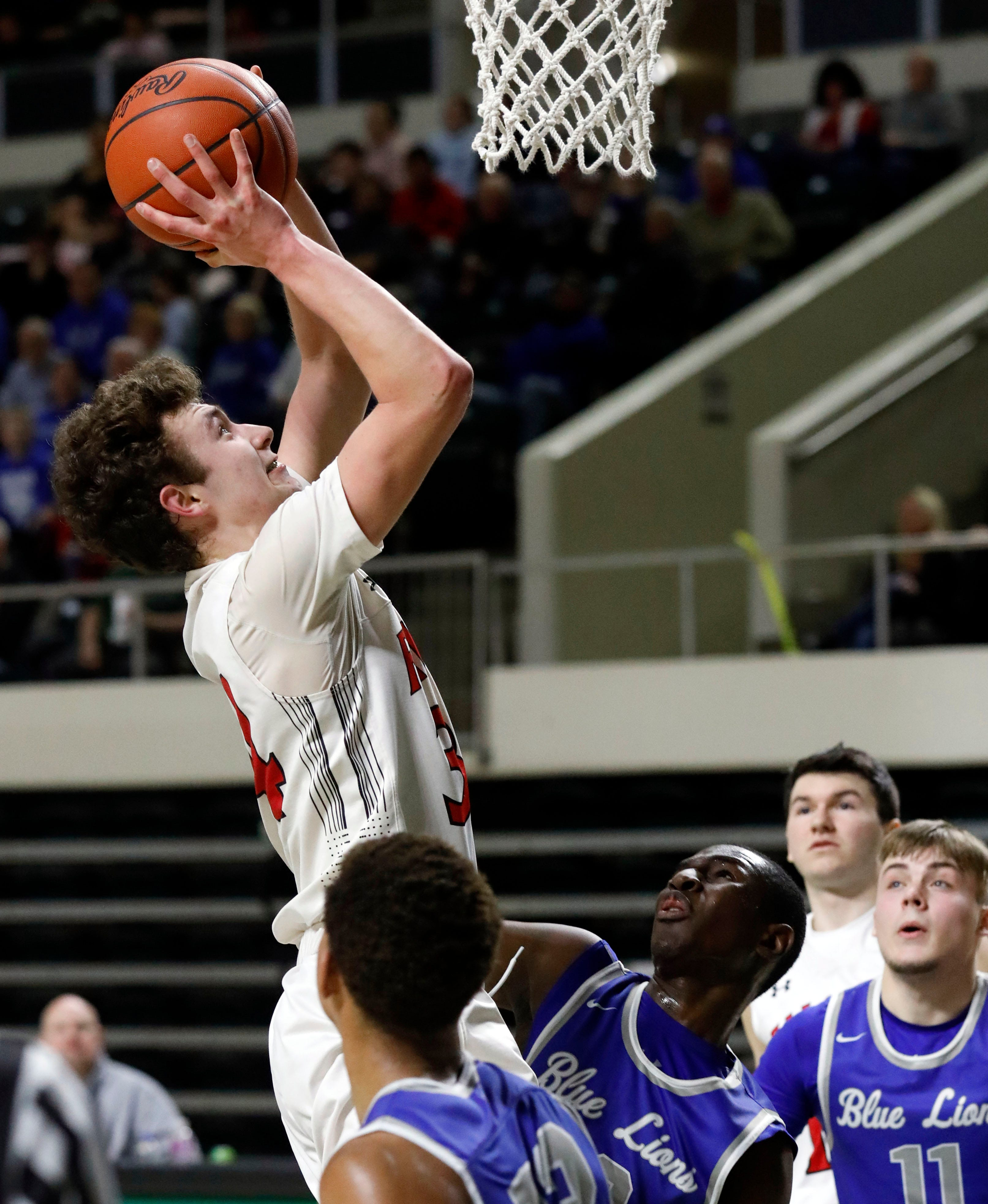 Fairfield Union's Huston Harrah takes a shot during Thursday night's Division II District Semifinal, Feb. 28, 2019, at the Convocation Center at Ohio University in Athens.