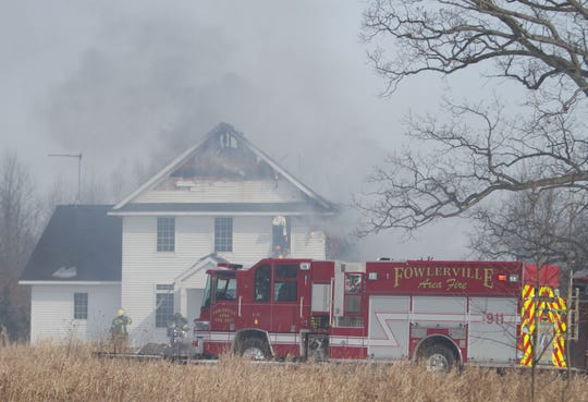 Fowlerville and Putnam firefighters, as well as Livingston County EMS, were on scene of a house fire on Kern Road in Iosco Township Friday, March 1, 2019.