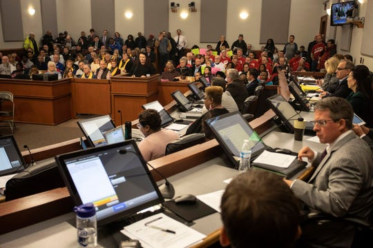 Louisville Metro Council's budget committee, pictured here on Feb. 28, voted 7-4 on Thursday to approve a version of the insurance tax hike proposal.