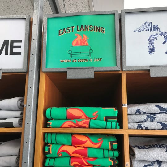 Campus Street Sportswear in East Lansing, north of MSU's campus on Grand River Avenue, sells this T-shirt for $14.99.