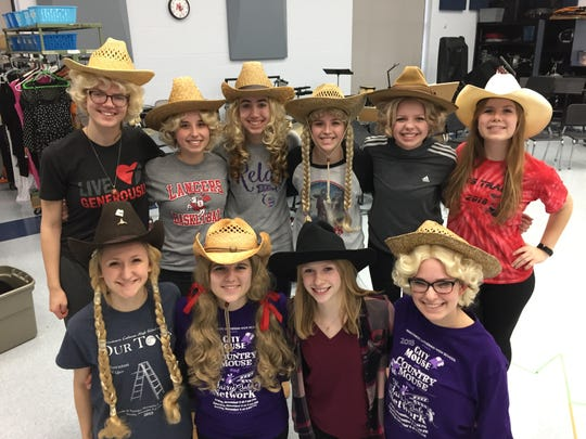 """Country Western Wives"" in Manitowoc Lutheran High School's production of ""Joseph and the Amazing Technicolor Dreamcoat."""