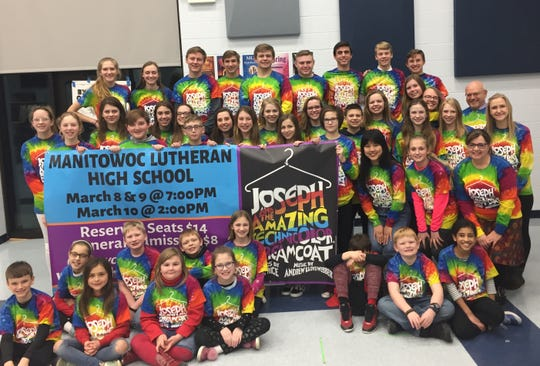 "Cast of Manitowoc Lutheran High School's ""Joseph and the Amazing Technicolor Dreamcoat."""