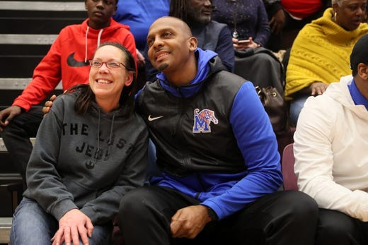 University of Memphis head basketball coach Penny Hardaway takes photos with fans on the sidelines of Whitehaven's matchup against Memphis East for the Region 8AAA Championship game at Collierville High School on Thursday, Feb. 28, 2019.