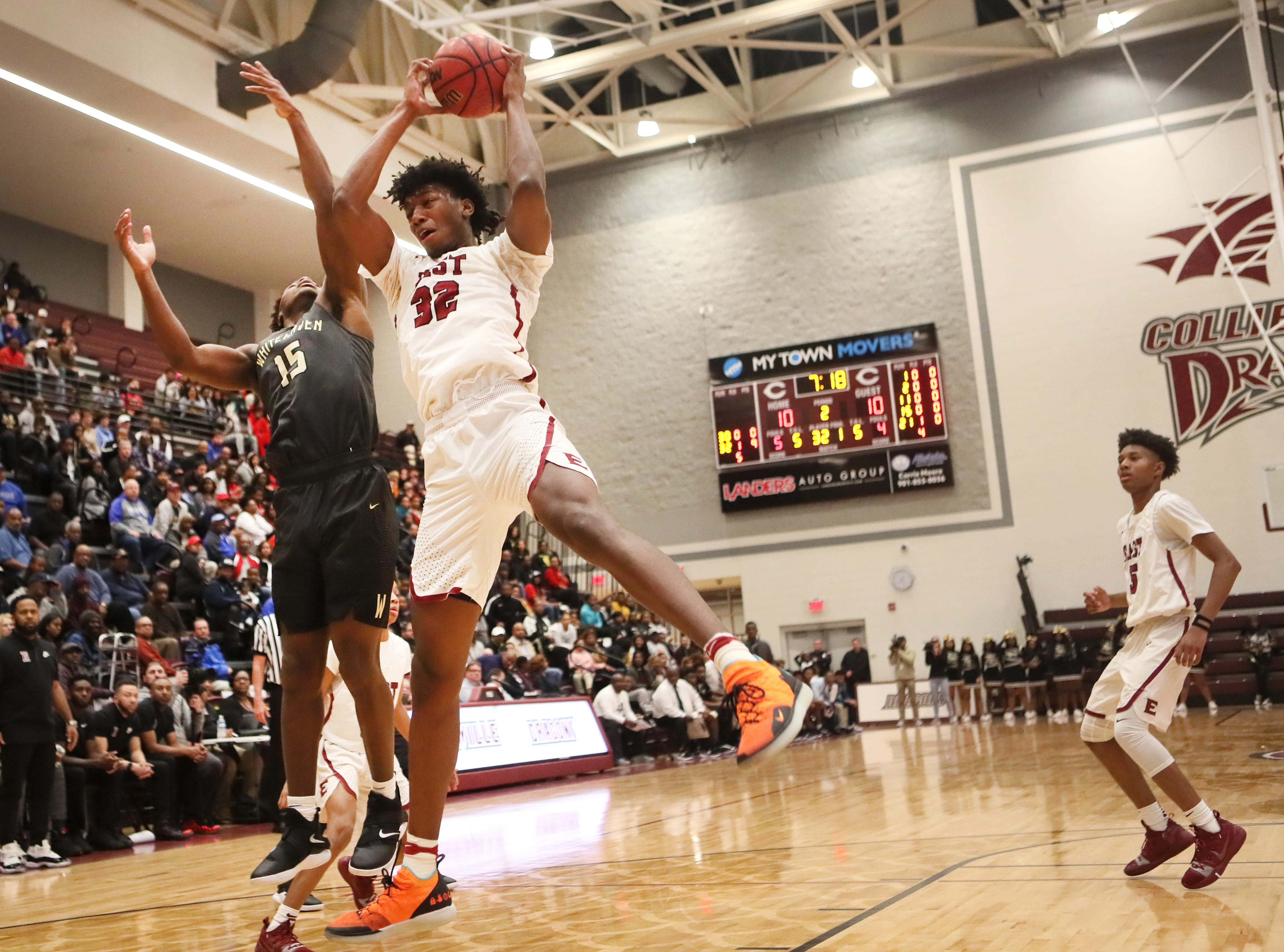 Memphis East's James Wiseman grabs a rebound against Whitehaven during their Region 8AAA Championship game at Collierville High School on Thursday, Feb. 28, 2019.