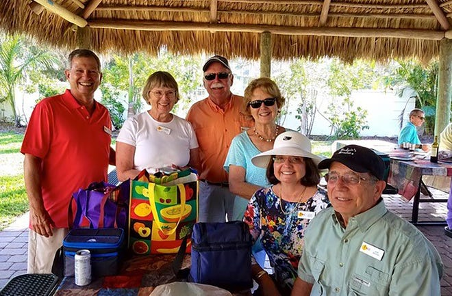 From left, Vice Commodore Todd Whitney, Commodore Deena Procopio, Ed and Ginny Bauersfeld, Joyce and Rober Madaio.