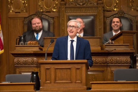 Gov. Tony Evers delivers his budget address to a joint session of the legislature at the Capitol in Madison.