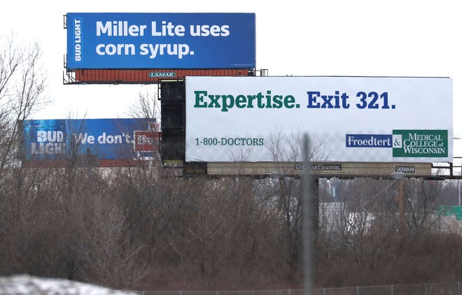 Bud Light brought its bar fight with Miller Lite to Milwaukee. Anheuser-Busch rented five billboards to share a message, include these two off I-94 near Oak Creek. The billboards are posted in sequence of pairs of two or more.