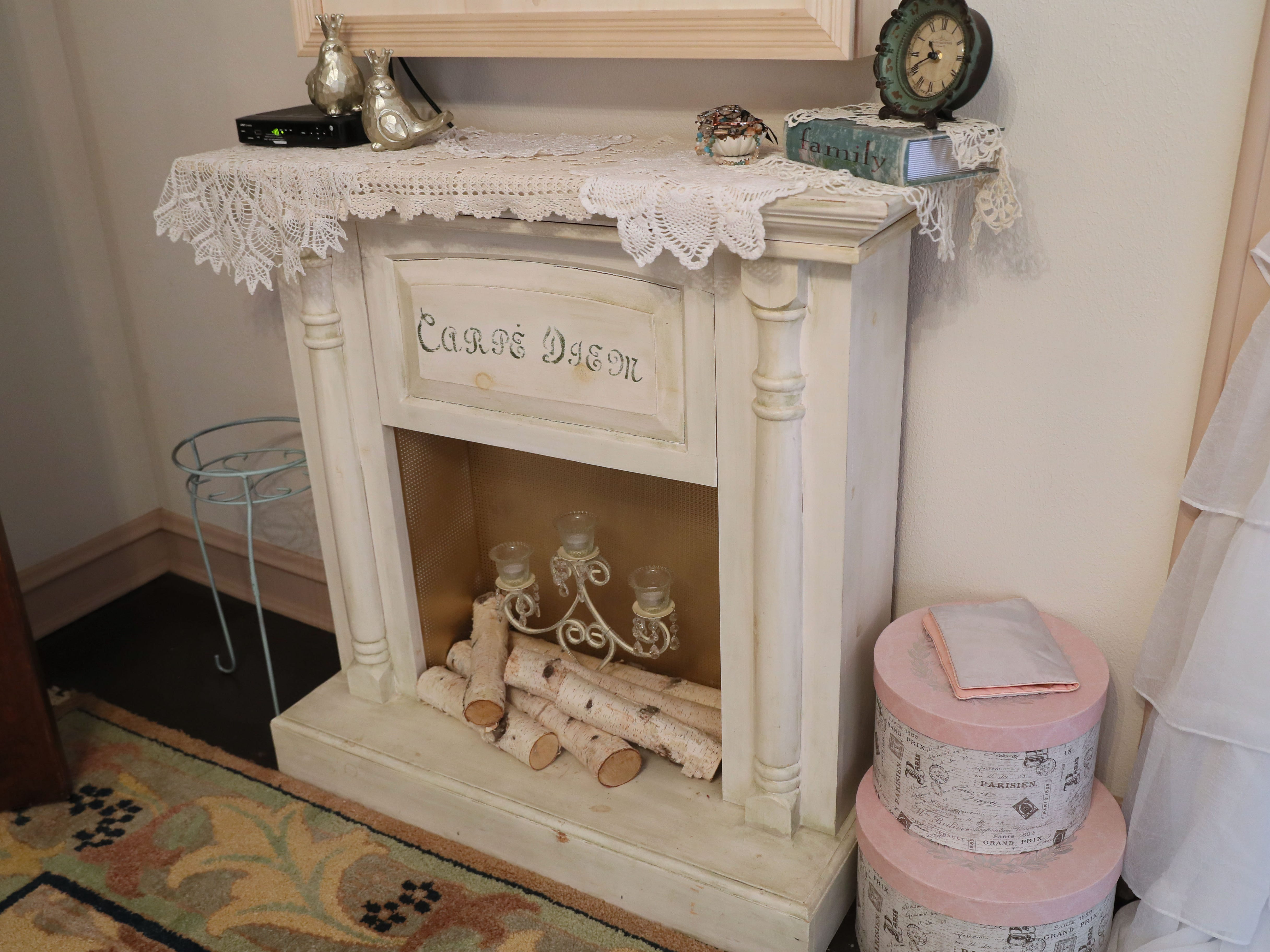 Zoe Krause's father built this faux fireplace that sits in her bedroom.