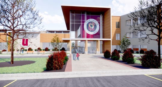 A rendering shows a preliminary design proposal for Underwood Elementary School in Wauwatosa. A public hearing is scheduled for April 8. The project is part of the school district's $124.9 million building referendum approved in November 2018.