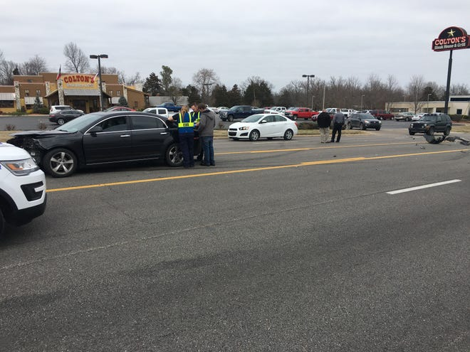 Authorities are working the scene of a two-car accident on U.S. Highway 62 E. near Colton's Restaurant. No injuries are apparent, but East bound traffic is currently restricted to one lane.