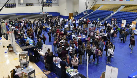 High school seniors visit the Mountain Home High School Career Expo on Friday.