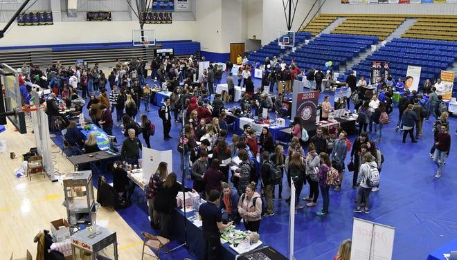 High school seniors visit the Mountain Home High School Career Expo on Friday.