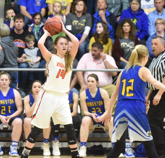Viola's Lindsey Browning throws a pass during the Lady Longhorns' win over Kingston on Thursday.