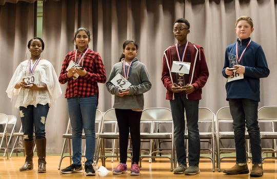 Bre'Ann Washington, left, was the winner of the 2019 All-Parish Spelling Bee held at Ouachita Junior High in Monroe, La. on March 1. Second place went to Mahati Sreedhara, third place was Kaden Copeland, with first runner-up Ishwari Kshirsagar and second runner-up Jacob Green. Washington will go on to compete at the Scripps National Spelling Bee in Maryland on May 26th.